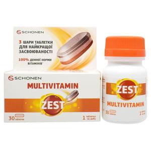 Витамины ZEST (Зест) Multivitamin (Мультивитамин) с витамином С, витамином Д и цинком таблетки 30 шт