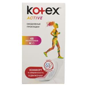 Прокладки ежедневные женские KOTEX (Котекс) Active (Актив) Non Deo экстратонкие 48 шт